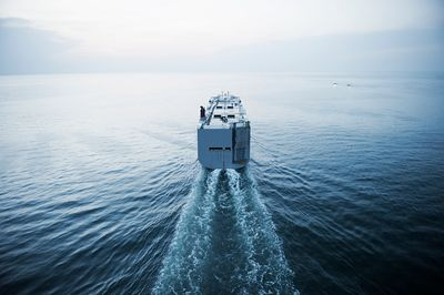 Aerial photograph of car transport ship entering the Chesapeake Bay