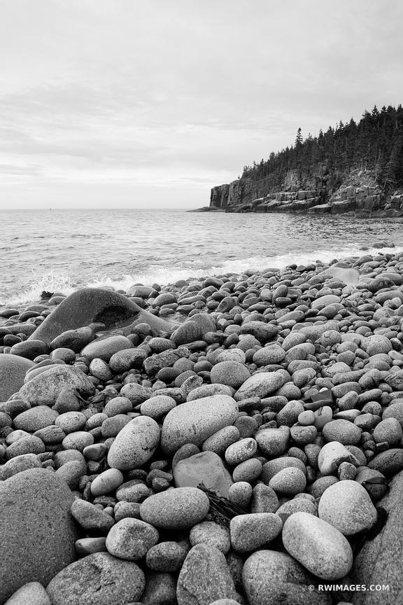 ROUND BOULDERS AT THE ROCKY BEACH OTTER COVE ACADIA NATIONAL PARK BLACK AND WHITE VERTICAL