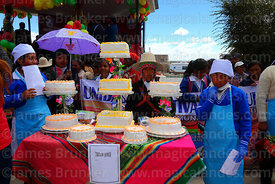 Students at stall with quinoa cakes at an event to promote quinoa products, Pampa Aullagas, Bolivia