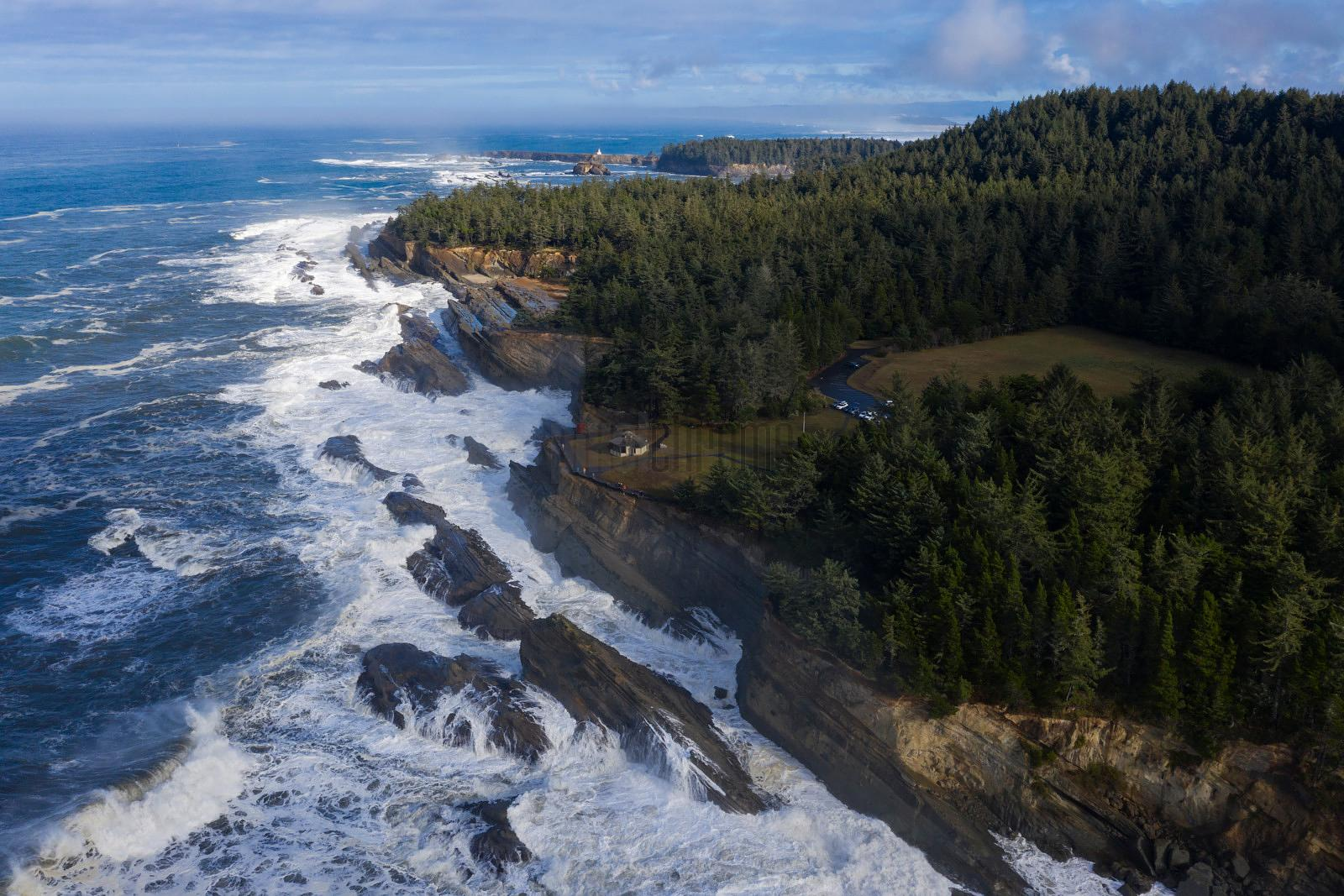 Aerial View of the Oregon Coast at Shore Acres State Park