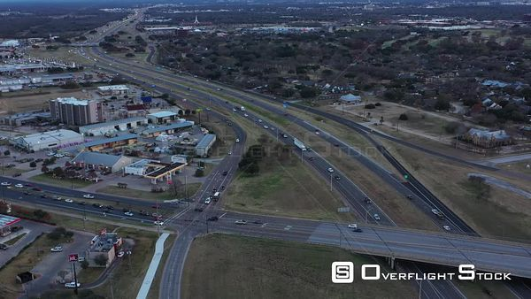 Busy Freeway, Feeder Roads, and Intersections, Bryan, Texas, USA