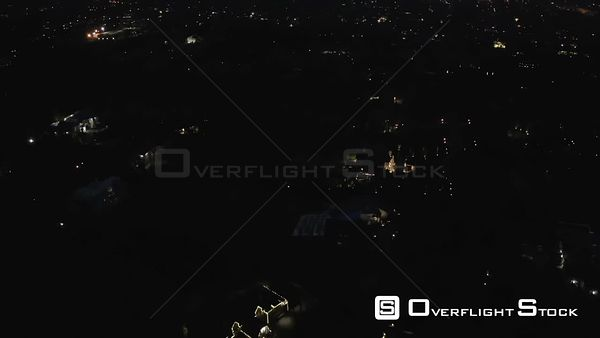 Night Drone Aerial View of Affluent Suburb Community of Upper Saddle River New Jersey