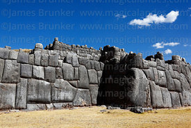 Defensive zigzag wall in the site of Sacsayhuaman, Cusco, Peru