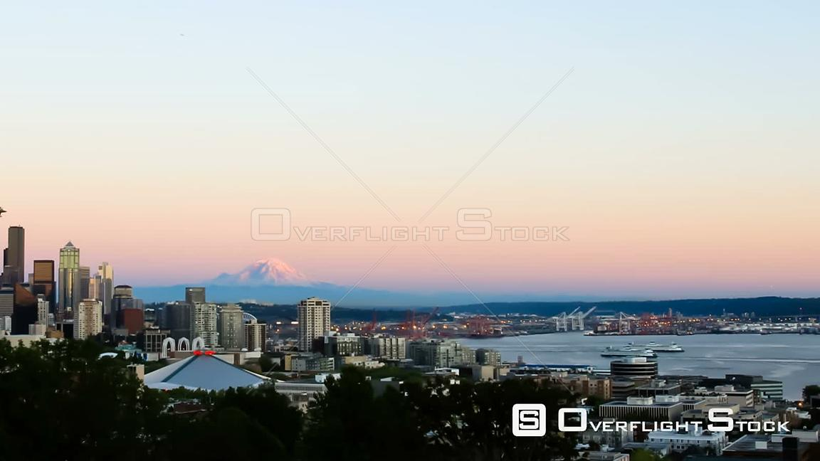 Seattle Washington State USA Panning Seattle cityscape time lapse shot at sunset from Kerry Park.