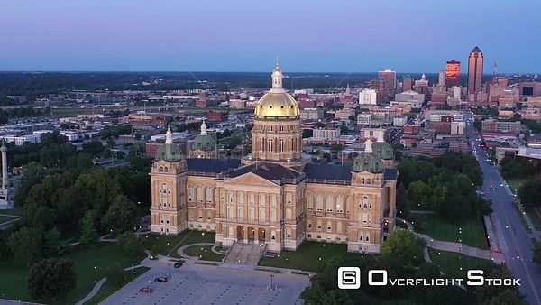Early Morning View of the State Capital and Downtown, Des Moines, Iowa, USA