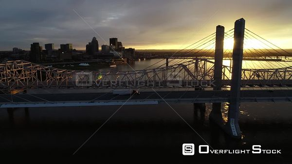 Late Dusk Drone Aerial View of Louisville Kentucky and Ohio River