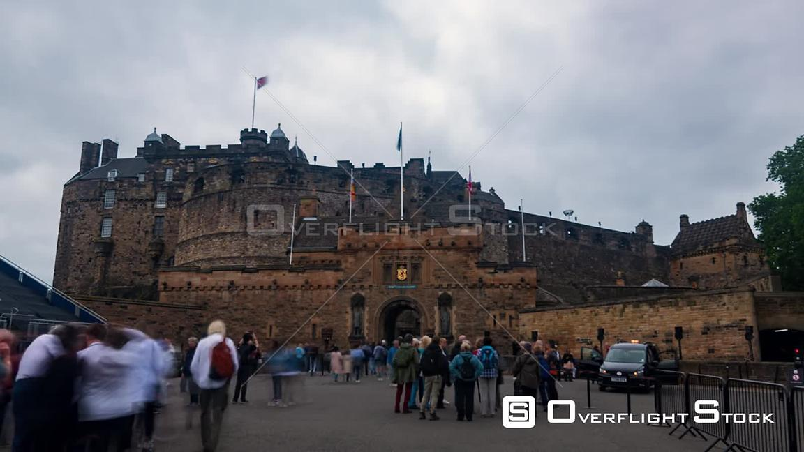 Timelapse View of the Entrance of Edinburgh Castle in a Foggy Day