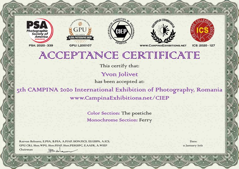 5th CAMPINA 2020 International Exhibition of Photography, Romania.