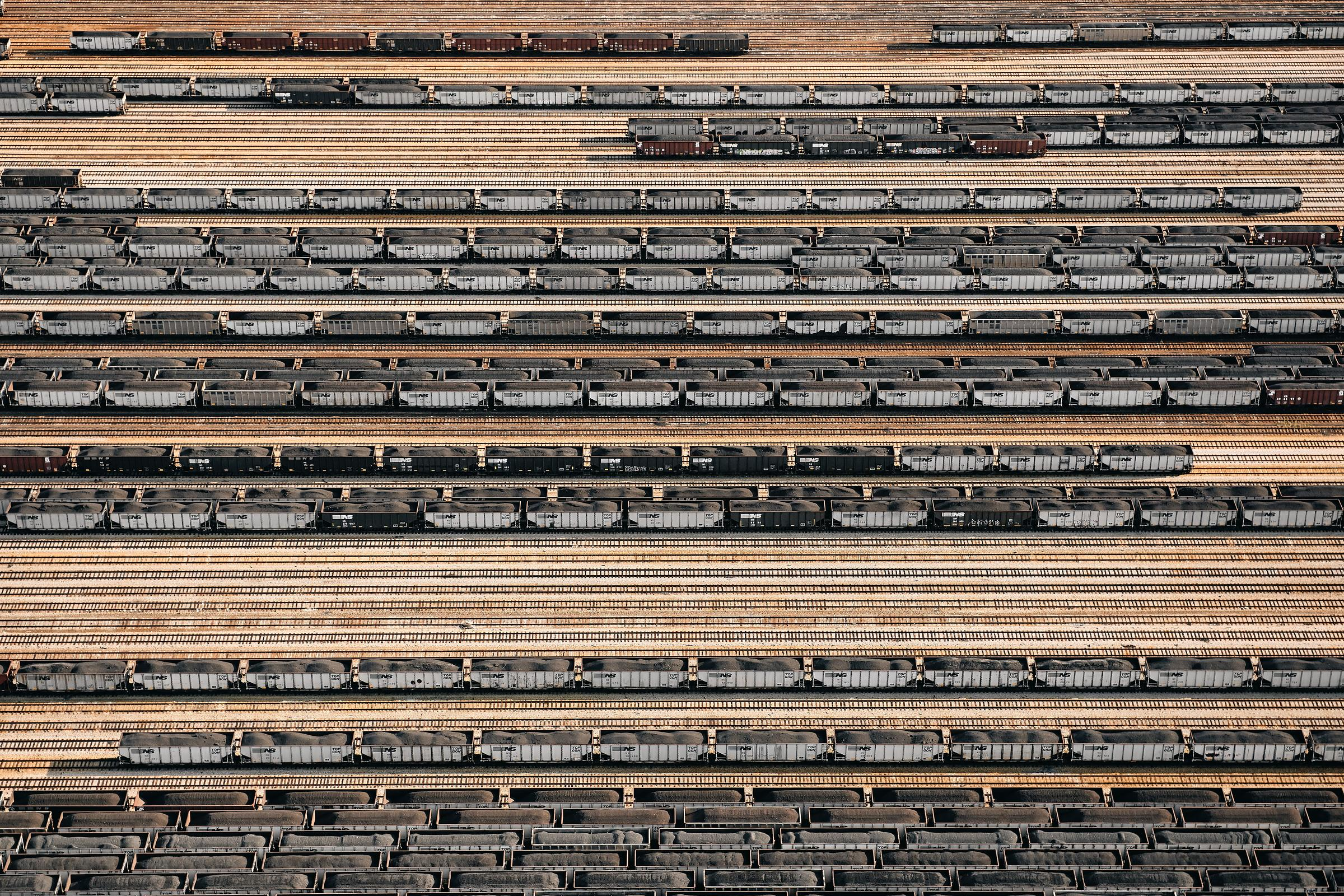 Aerial of Norfolk Southern train yards