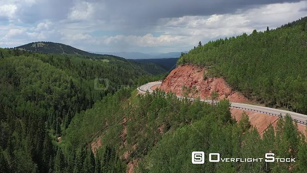 Mountains, Highway, valley and trees, Teller County, Colorado, USA