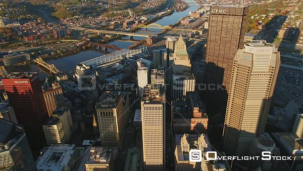 Pittsburgh Pennsylvania Reverse panning birdseye over downtown cityscape