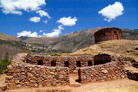 Restored building with niches and round tower called a suntur wasi at Inca site of Urco / Urqo, near Calca, Cusco Region, Peru