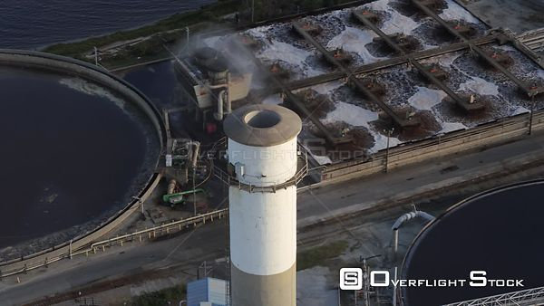 South Carolina Charleston Aerial Panning view of paper mill processing plant