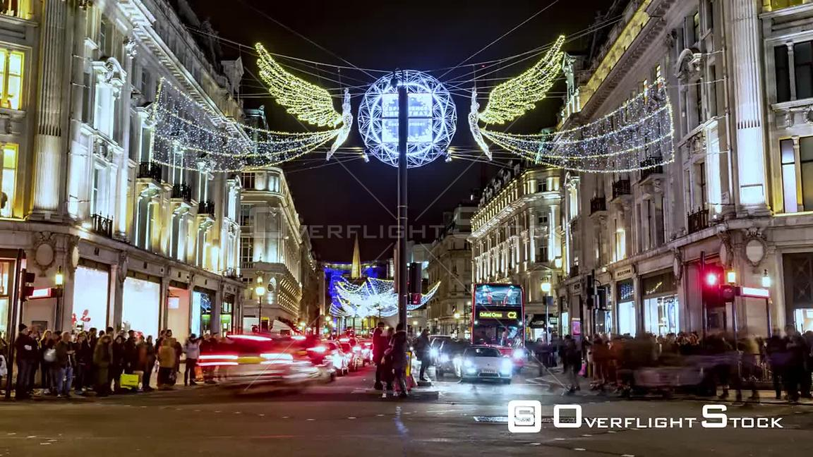 Time lapse view of Christmas lights and decoration in Regent street in London