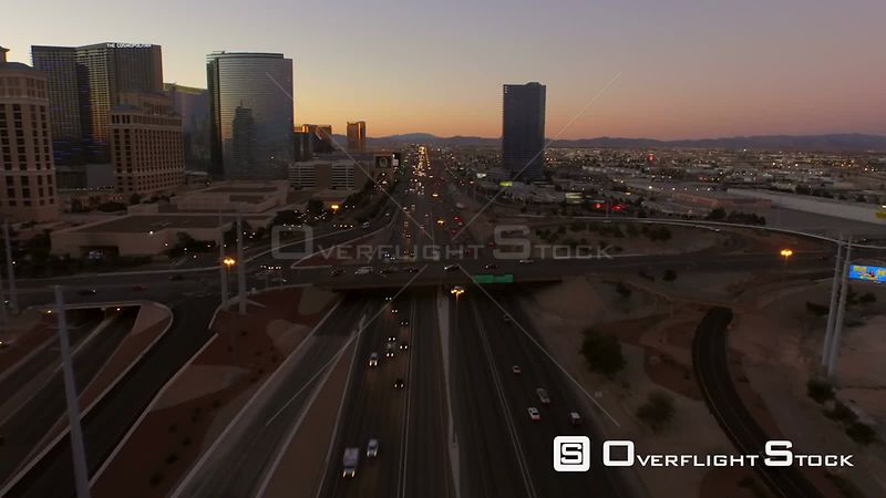Low flying aerial over Interstate 15 morning traffic. Las Vegas Nevada