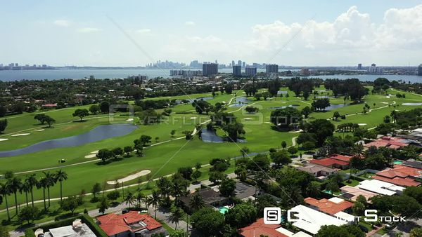 Aerial rising reveal Normandy Shores Miami Beach prime real estate 4k video