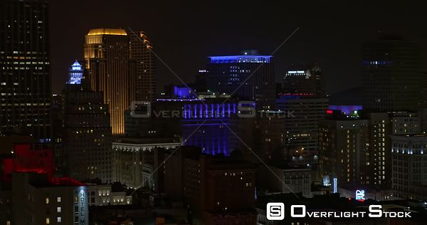 New Orleans Louisiana Aerial Panning view of downtown cityscape at night