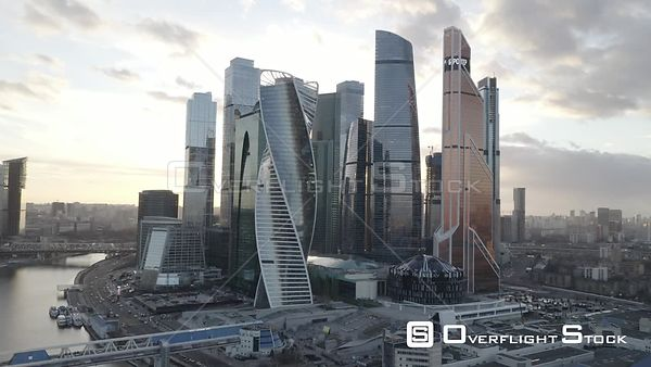 Sunset Orbit Fly Around MBCC. Moscow Russia Drone Video View