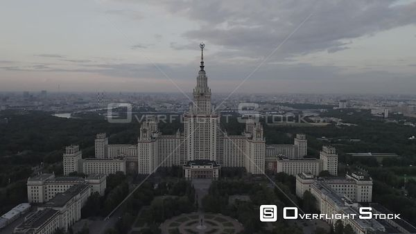 Flight Approach Towards Moscow State University. Moscow Russia Drone Video View