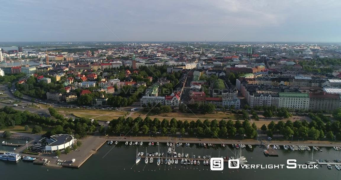 City Harbour, Aerial View Towards Eira and Merisatama, Sunny Summer Morning Dawn, Helsinki, Uusimaa, Finland