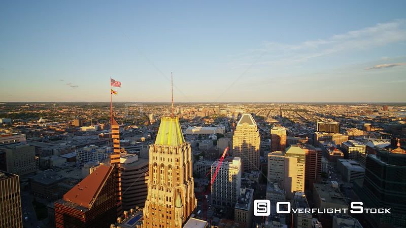 Baltimore Maryland Aerial Sunset  panoramic cityscape view