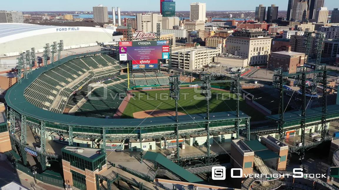 Drone Video Comerica Park Detroit During COVID-19 Pandemic