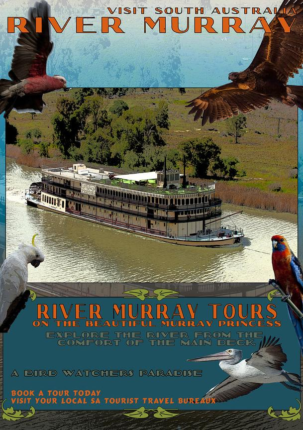 River Murray Retro travel Poster