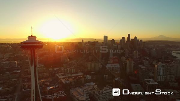Seattle Washington State USA Flying low over Lower Queen Anne area and downtown at sunrise with beautiful views