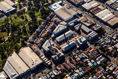 Aerial view of the Brunswick Brickworks in Brunswick, Melbourne, Australia.