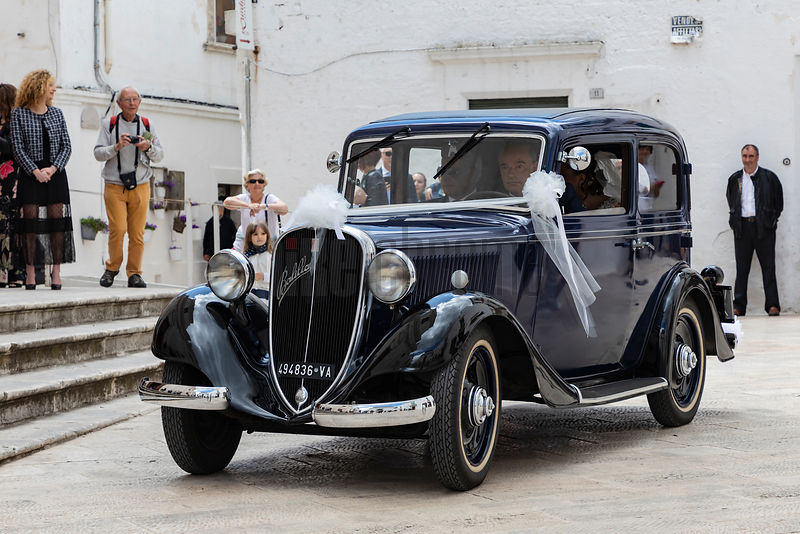 A Bride Arrives at the Chiesa Madre San Giorgio in a 1930s FIAT Balilla