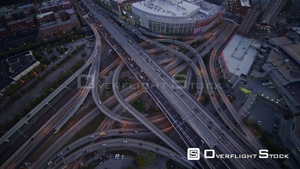 Providence Rhode Island Panning birdseye expressway intersection cityscape detail at sunrise