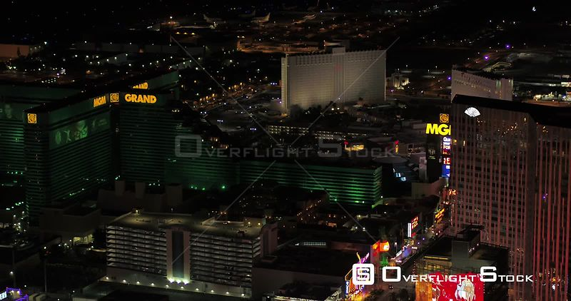 Las Vegas Aerial v47 Flying over main strip area at night with panoramic views 4/17