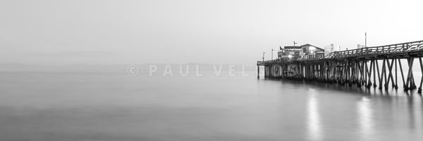Capitola Wharf Pier at Dusk Black and White Panorama Photo