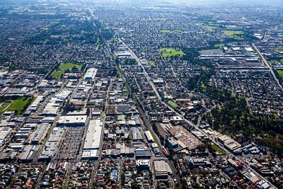 Aerial view of Coburg North in Victoria, Australia.