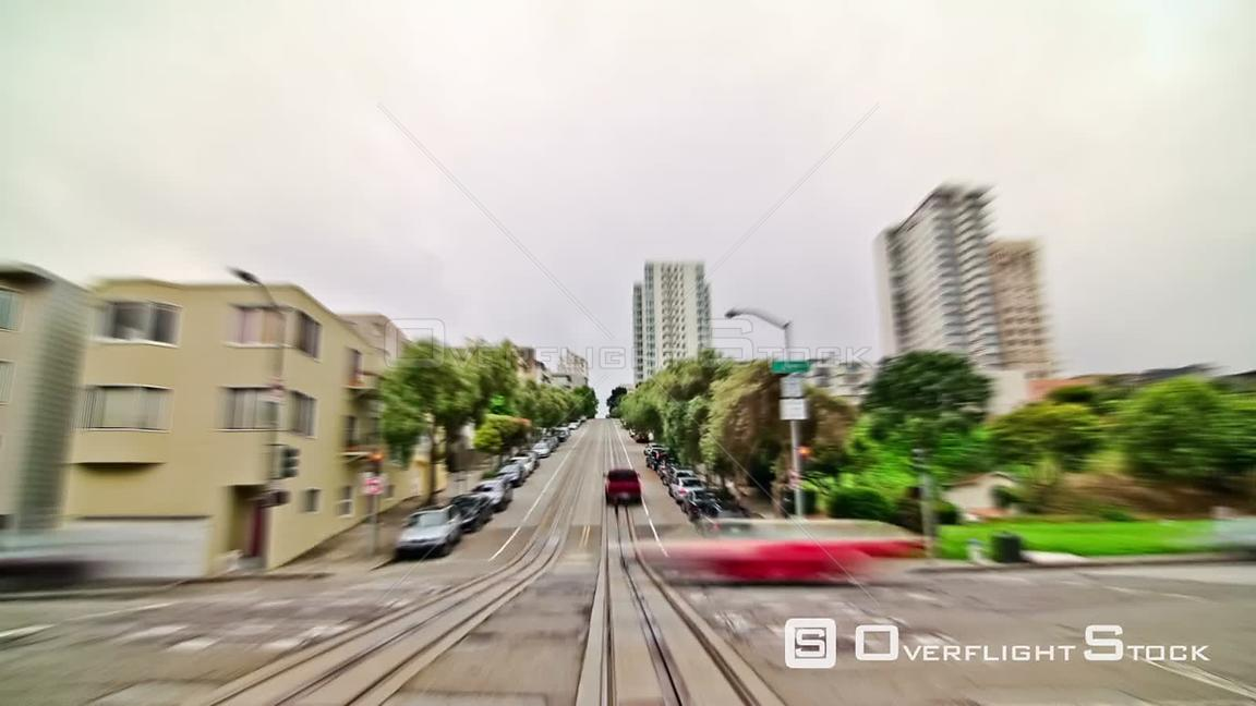 San Francisco California USA San Francisco city driving time lapse using a photo and zoom blur effects.