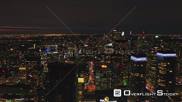 Toronto Ontario Looking inland at downtown skyline cityscape at dusk night