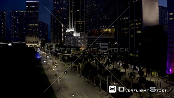 Downtown Miami Biscayne Low Aerial Flyover