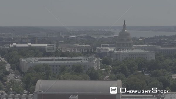 Aerial Truck Left to Right Showing the US Capitol Dome Washington DC Drone Aerial View