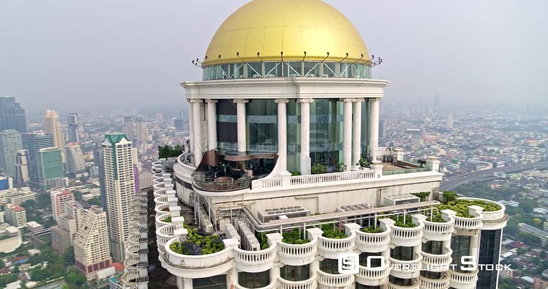 Thailand Bangkok Aerial Panoramic cityscape view with tower garden terrace detail