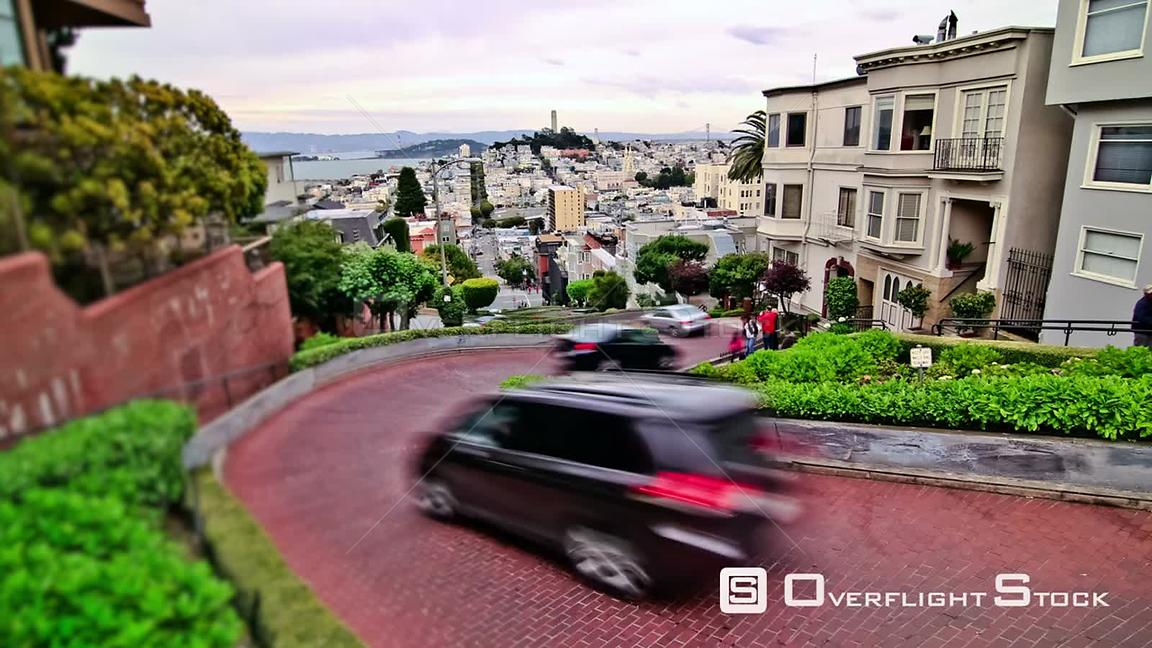 City traffic time lapse of the crooked Lombard Street  San Francisco California