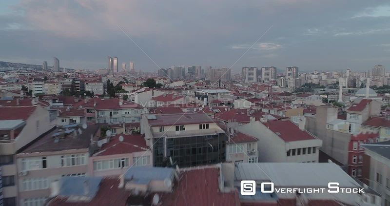 Low Aerial View Above Rooftops of Istanbul Asian Side Turkey