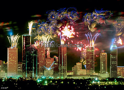 Fireworks Over Houston Skyline