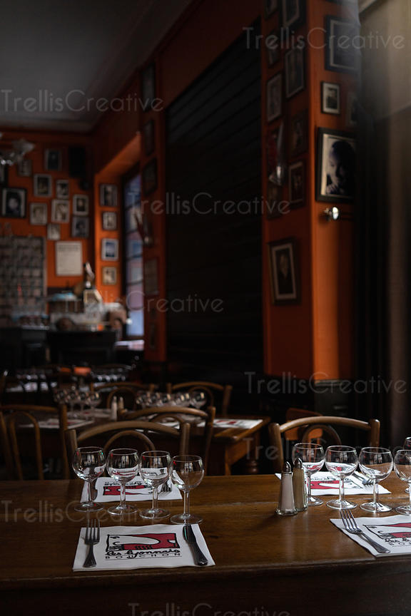 View inside a closed bistro in Lyon, France