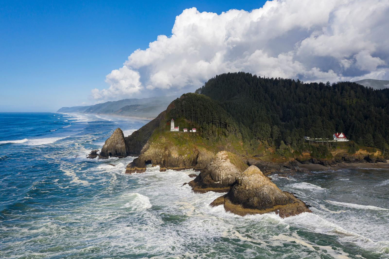 Aerial View of the Heceta Head Lighthouse