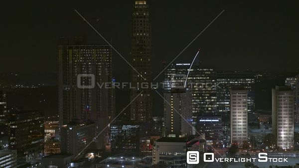 Atlanta Short, slight ascending, panning nighttime view of downtown Buckhead skyline cityscape