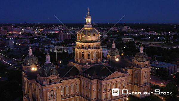 Early Morning, State Capital Building and Downtown, Des Moines, Iowa, USA