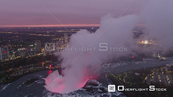 Niagara Falls Ontario Sunset cityscape view panning to Horseshoe Falls Park mist cloud detail