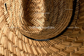 Straw hat in detail viewed from above