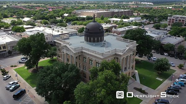 Courthouse lawn and roof with dome and statue, Georgetown, Texas, USA
