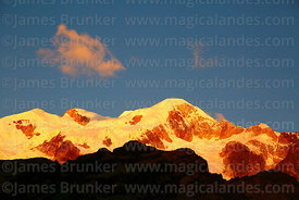 Pico Schulze (a peak on the west side of the Mt Illampu massif) shortly before sunset, Bolivia